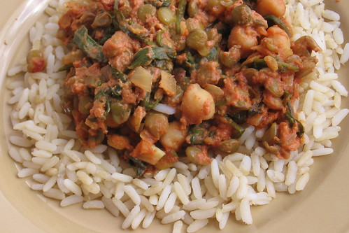 Lentil, Bean and Spinach Curry