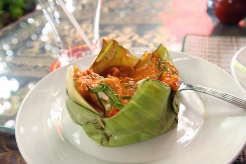 Steamed fish in banana leaf