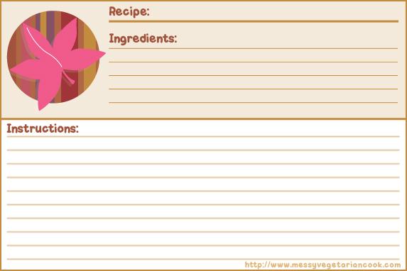 Free Autumn Breeze recipe card templates