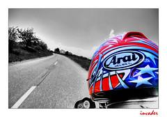 invader from outta space (Toni_V) Tags: street reflection bike 1025fav switzerland blackwhite helmet harley motorbike harleydavidson roger arai helm buell whiledriving d300 sigma1020mm vpower buellxb12s hdrsingleraw capturenx toniv photoshop60 toniv photomatix30