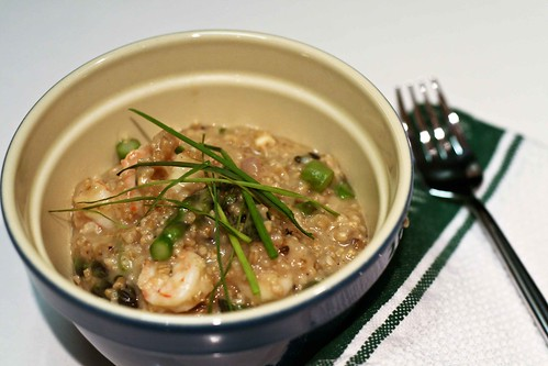 oat risotto with shrimp, asparagus & pecorino