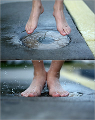 Up and Down (~Kerry Murphy) Tags: feet jump diptych splash boychild