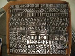 Sans Serif Caps Letterpress Type - 54pt