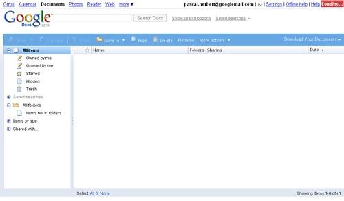 Google Docs - All items down