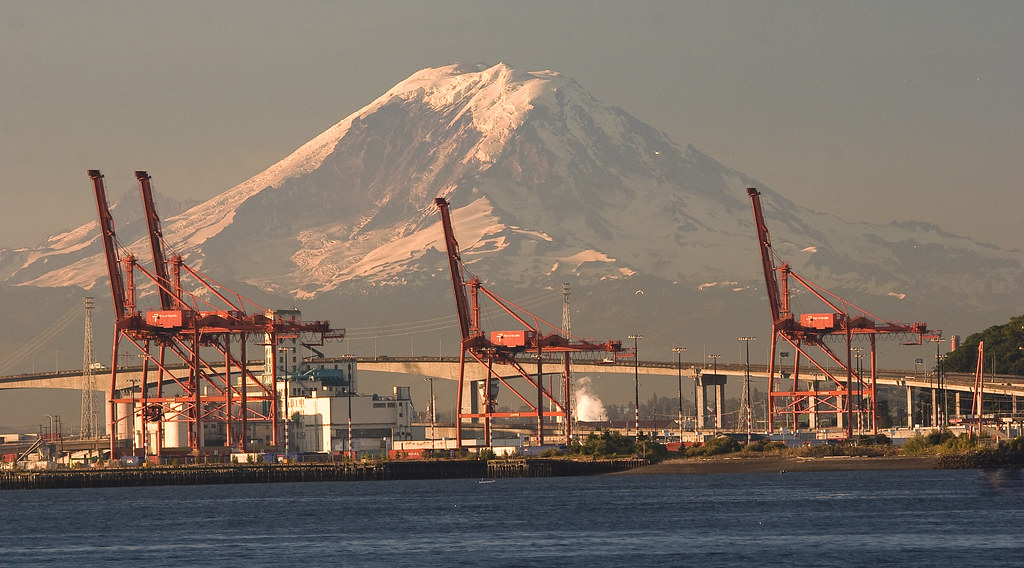 Sunrise over the port of Seattle