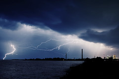 (uwajedi) Tags: city summer sky cloud lake toronto ontario canada storm water weather silhouette night smokestack thunderstorm lightning thebeaches