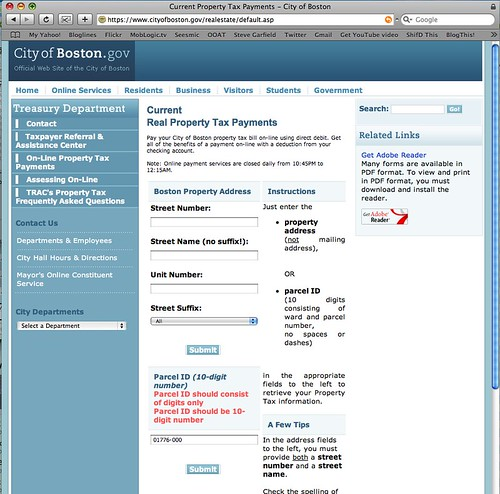 City of Boston Real Estate Tax payment page