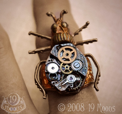 BEETLE MECHANIQUE Vintage Watch Ring STEAMPUNK Being Worn