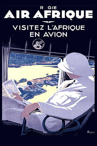 Air Afrique Vintage Travel Poster