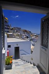 Santorini: Stairs (Svetlana Serdiukova) Tags: blue white plant stairs island amazing nikon view steps pot santorini greece nikkor picturesque breathtaking d300 1755mmf28d  svetlanaserdiukova