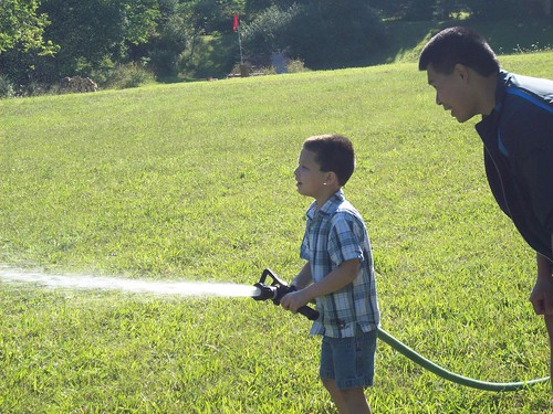 Nate and Dave with the firehose