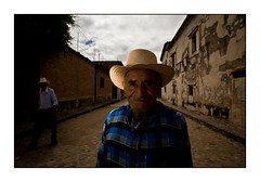 Almost alone in the street (yanseiler) Tags: travel man hat america canon mexico indian oaxaca mexique farmer indigena