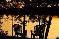 the Chairs at Sunset (Kathy~) Tags: sunset chelsea chairs michigan cw fc northlake bigmomma aplusphoto photofaceoffwinner pfogold pfosilver noahslanding 2ofakin challengew