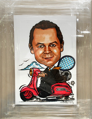 Caricature for Right Management pink scooter tennis soccer in acrylic frame