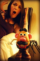 Kinky! (~aspidistra~) Tags: selfportrait silly leather toy bedroom sm bondage sp thong whip mrpotatohead picnik kinky fgr