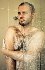 Hairy in man shower