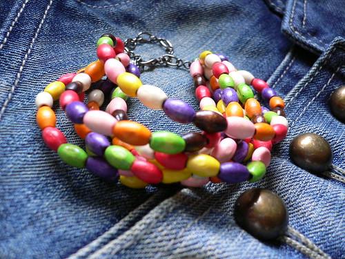 JELLYBEAN FEVER wood bead multi-stranded bracelet