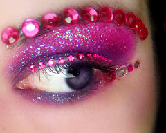 365 Reject (Lady Pandacat) Tags: pink wild color macro eye glitter ojo shiny colorful purple bright urbandecay stickers ballard 2008 sparkly pigment gem jewel makeupforever wetandwild fantabulous fgr pandacat catchinglight canona570is glittergel iridescentfuschia951 pandacatbaby 365regect tinaangel addictedtomakeup ladypandacatvonnopants