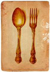 fork and spoon (*Leanda) Tags: stilllife texture collage sepia photoshop vintage silver paper print fork spoon brushes christening layers cutlery