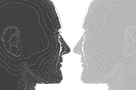 reflejo del perfil trazado de una persona