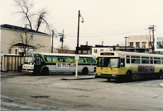 The Chicago Transit Authority bus terminal loop at West 63rd Place and South Kedzie Avenue. Chicago Illinois. December 1985. by Eddie from Chicago