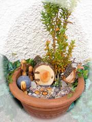 Fairy garden (notdmoma) Tags: door wood sculpture plant art mushroom urn garden idea wooden hand craft hobby made pot elf fairy fantasy hammock toadstool suggestion arrangement elves fae crafted