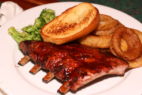Baby Back Ribs, onion rings, and broccoli