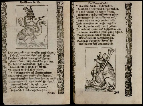 man rides bird AND cow plays bagpipes: 16th century woodcut illustrations