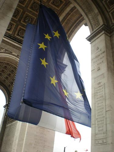 Big Flags at The Arc de Triomphe