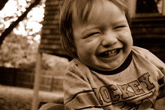 Sepia Giggle (Tex Batmart) Tags: baby sepia backyard giggle laughter digitalphotography ticklish westberkeley nikond40x