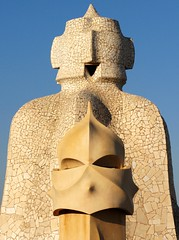 On top of Gaudi's La Pedrera, Barcelona, Spain
