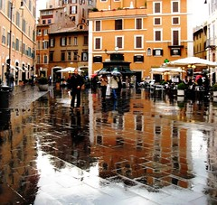 Rain in Rome, Italy (moonjazz) Tags: plaza city light vacation urban italy streets rome roma history wet water beauty rain weather yellow umbrella reflections wonder europe colore shine upsidedown walk culture tourist romantic piazza stroll metropolitan splendor 5photosaday mywinners colourartaward flickrlovers