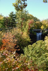 Minnehaha Falls (2008) (jpellgen) Tags: park bridge autumn trees cliff usa fall leaves minnesota rock america creek waterfall leaf midwest minneapolis falls limestone twincities 2008 mn minnehaha grandroundsscenicbyway