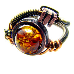 Mysterious Amber Steampunk Ring (by CatherinetteRings)