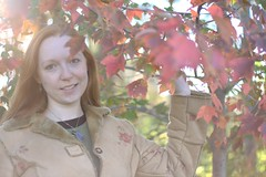 61: Happy Fall! (Acie Creations) Tags: autumn red selfportrait fall bokeh redhead fave utata redhair redleaves fgr fall08 xdays yashica50mmf17 flickrgrouproulette clemsaknob autumn08 acwmaiden trialsmellslikebologna