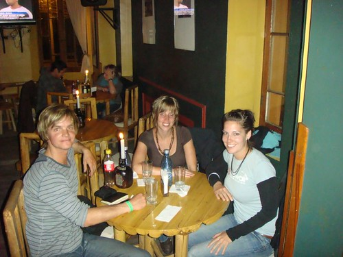 Nicolai, Andrea, and Martina (both Swiss) at Mongo's in La Paz.