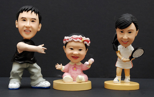 3D caricature figurines - man baby tennis lady 2