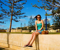 Scarborough Beach, WA (fotosiris) Tags: blue portrait sky cute beach girl sunshine nikon kitlens sunny australia perth wa scarborough scarboroughbeach d40