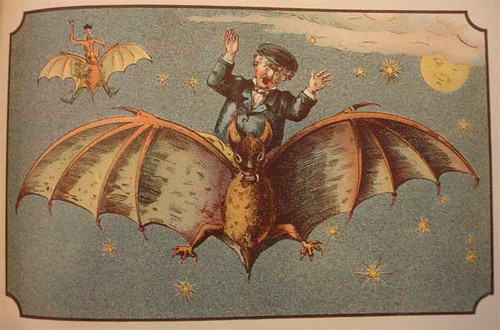 Riding a moon bat to Saturn (obviously), from Voyage dans la Lune, a 1900 book about lunar travel in the Beineckes collection.