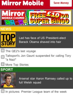 Mirror mobile site