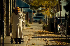 A stroll in the Fall (Dom Cruz) Tags: street people woman ontario canada fall cars leaves lady canon downtown candid guelph streetphotography sunny foliage sidewalk elderly lateafternoon canonef70200mmf4lusm 40d canoneos40d