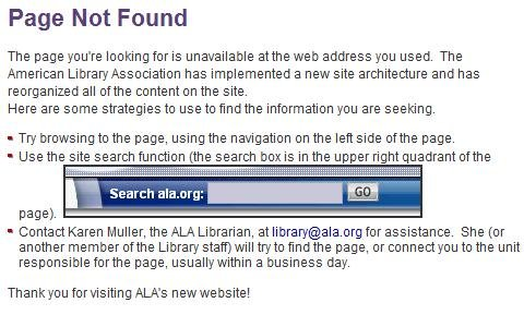 ALA PAGE NOT FOUND