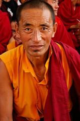 Tibetan Buddhist Monk, Tharlam Monastery during Lam dre, Boudha, Kathmandu, Nepal