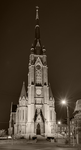 Saint Francis de Sales Oratory, in Saint Louis, Missouri, USA - tower at night