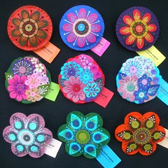 NINE LARGE BROOCHES READY FOR EXHIBITION AT MUSHROOM WORKS, NEWCASTLE (APPLIQUE-designedbyjane) Tags: flower mushroom gallery pin felt exhibition works corsage necastle leatherbrooch