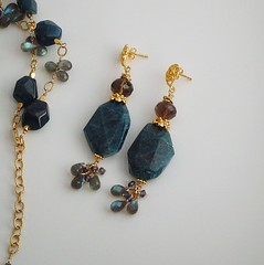 Midsummer Night's Earrings (Diana Bostany) Tags: gold jewelry faceted handcrafted earrings etsy nuggets labradorite smokeyquartz iolite apatite briolettes goldvermeil dianabostany bostany