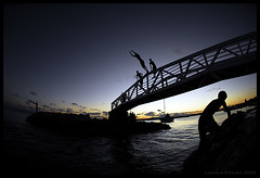 ... (Laurent Filoche) Tags: bridge sunset france kids nikon streetphotography fisheye guadeloupe saintfranois notcropped bonzography streetportfolio