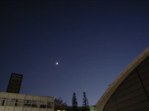 Conjunction of Moon, Jupiter, and Venus