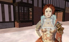 Queen Elizabeth on the rink (facial closeup) - Gloriana Sixpence