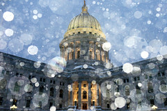 Madisonian Winter (Todd Klassy) Tags: christmas morning light sky holiday snow storm abstract color building art history classic beautiful horizontal wisconsin architecture landscape outdoors design democracy election midwest day mood shadows exterior unitedstates state flash fineart capital landmark lookingup falling vision capitol madison dome granite government cheer pillars blizzard wi legislature abundance pediment senate assembly prosperity statehouse capitolbuilding artistry stockphotography winterscene fallingsnow calendarphoto historiclandmark isthmus urbanscene colorimage wisconsinstatecapitol 53702 governorsoffice statecapitolbuilding danecounty winterseason wisconsincaptiol wisconsinsupremecourt wisconsinscene biggovernment stateofwisconsin officeofthegovernor wisconsinstatelegislature